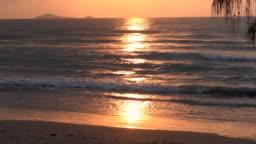 Dramatic sunrise early morning at tropical sea.