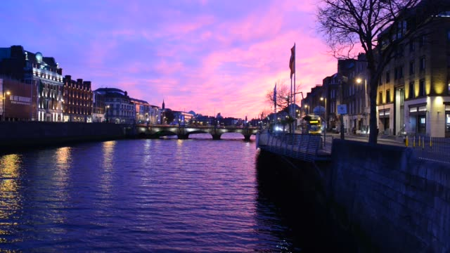 dramatic sunset along the river liffey - dramatic sky stock videos & royalty-free footage