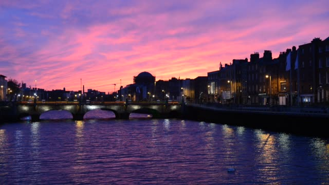 dramatic sunset along the river liffey - ireland stock videos & royalty-free footage