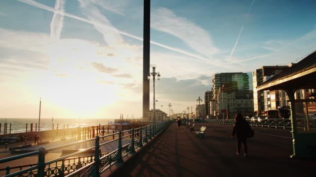 dramatic sunset in brighton - イーストサセックス点の映像素材/bロール