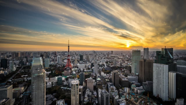 t/l ws ha dramatic sunset in tokyo / tokyo, japan - tokyo japan stock videos & royalty-free footage