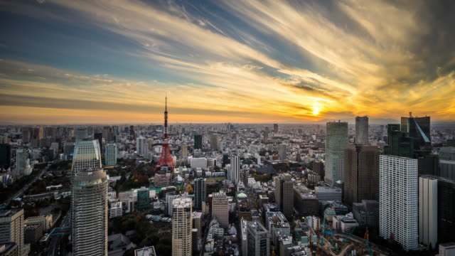T/L WS HA ZI Dramatic Sunset in Tokyo / Tokyo, Japan
