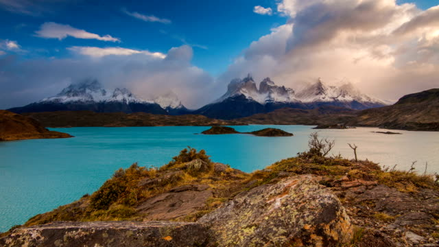 Dramatic sunset in Torres del Paine, Chile