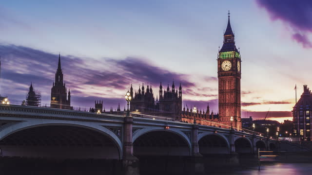 dramatic sunset over famous big ben clock tower in london, uk. - politics icon stock videos & royalty-free footage