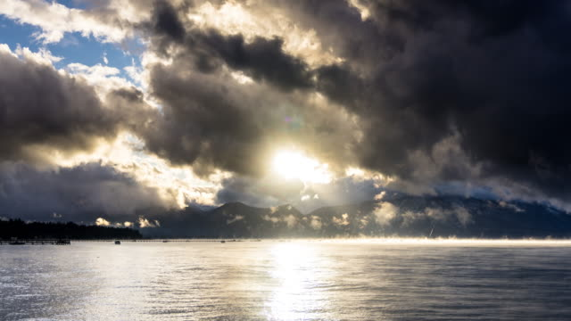 Dramatic Sunset Over Lake Tahoe - Time Lapse