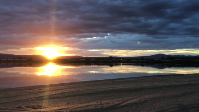 dramatic sunset over over inlet  in port augusta south australia - inlet stock videos & royalty-free footage