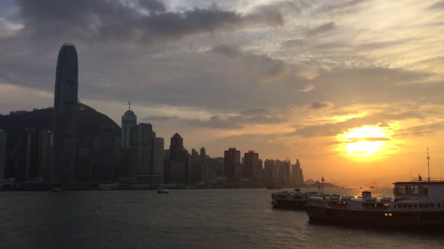 Dramatic Sunset Over Victoria Harbour In Hong Kong