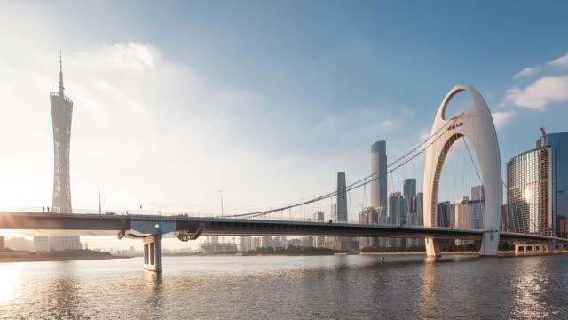 t/l ws dramatic urban sunset in guangzhou, china - hängebrücke stock-videos und b-roll-filmmaterial