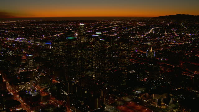 Dramatic View Of Downtown LA At Dusk