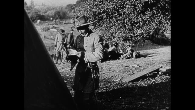 dramatization - 1860s a confederate soldier receives a letter from his younger sister - mitteilung stock-videos und b-roll-filmmaterial