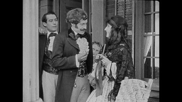 dramatization - 1860s dapper southern man interrupts a man courting a women - historische kleidung traditionelle kleidung stock-videos und b-roll-filmmaterial