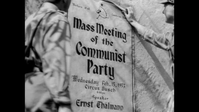 / dramatization of trade union meeting gatecrashed by nazi party brown shirts / brown shirts pulling down opposition political banners nazi brown... - nazi brown shirts stock videos & royalty-free footage