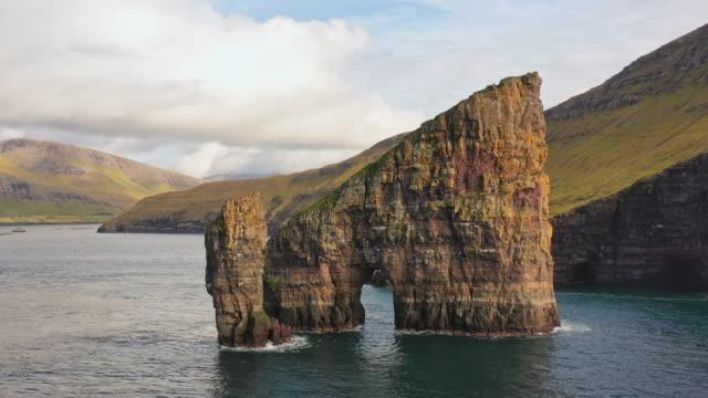 drangarnir rocks faroe islands vagar island drone flight 4k - north atlantic ocean stock videos & royalty-free footage