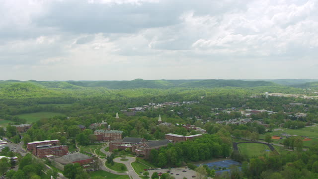 w aerial draper building at berea college / berea, kentucky, united states - kentucky stock videos & royalty-free footage