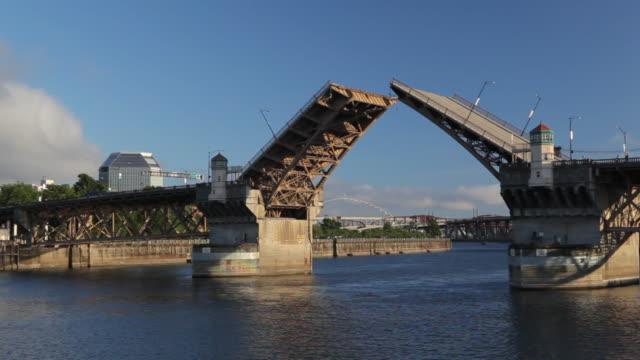 hd draw bridge in portland oregon - drawbridge stock videos and b-roll footage