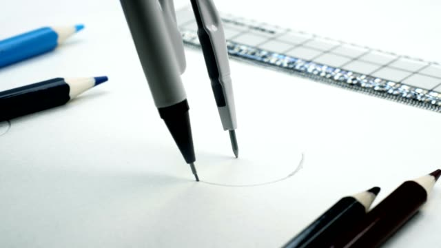 drawing compass on table - drawing compass stock videos & royalty-free footage