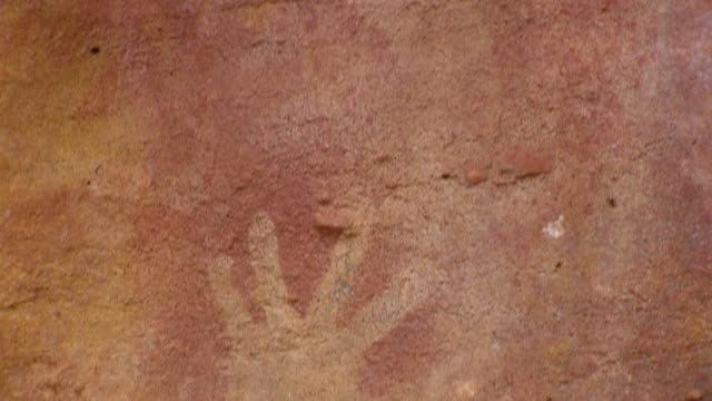 cu tu drawing of hand in cave / mutawintji national park, new south wales, australia - brown stock videos & royalty-free footage