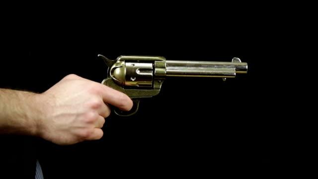 drawing peacemaker gun and shooting three times - handgun stock videos & royalty-free footage