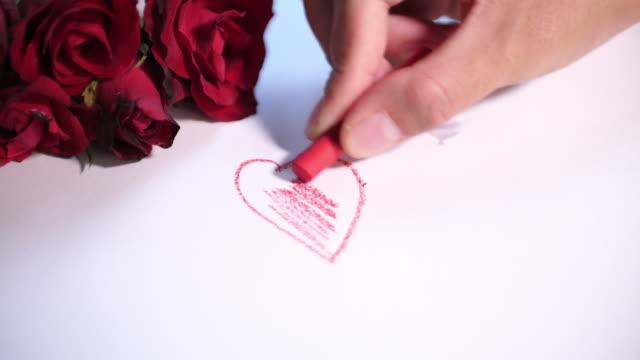 vídeos y material grabado en eventos de stock de dibujo de corazón rojo, día de san valentín - tarjeta del día de san valentín