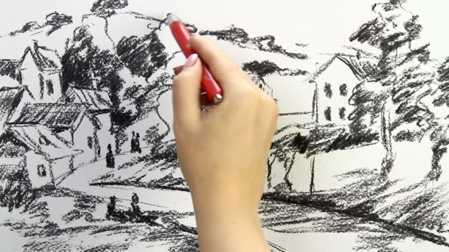 vídeos y material grabado en eventos de stock de drawing replica of camille pissarro's 'the hermitage at portnoise' - réplica