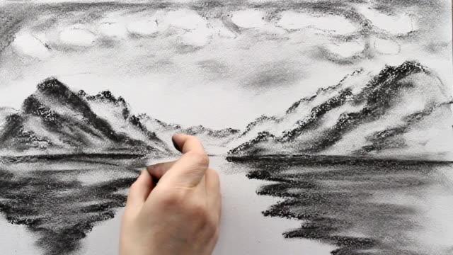 drawing replica of ferdinand hodler's 'lake thun' - lake thun stock videos and b-roll footage