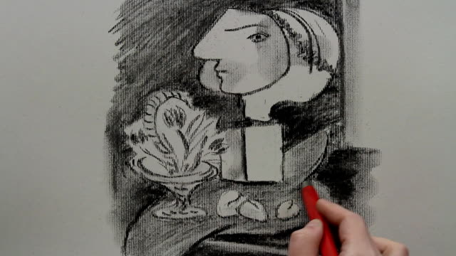 drawing replica of pablo picasso's still life with tulips - cubism stock videos & royalty-free footage