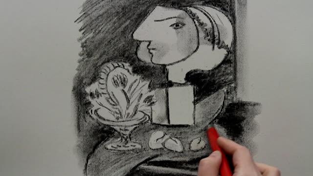 """vídeos y material grabado en eventos de stock de drawing replica of pablo picasso's """"still life with tulips"""" - pintor"""