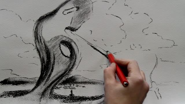 vídeos y material grabado en eventos de stock de drawing replica of salvador dali's 'the architectonic angelus of millet' 1933 - surrealismo