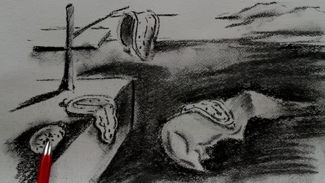 vídeos y material grabado en eventos de stock de drawing replica of salvador dali's 'the persistence of memory' 1931 - surrealismo
