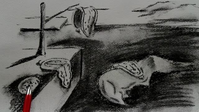 drawing replica of salvador dali's 'the persistence of memory' 1931 - 1931年点の映像素材/bロール