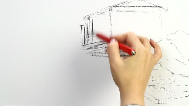 drawing replica of vasily polenov's 'the parthenon, temple of athena pallas' - 鉛筆点の映像素材/bロール