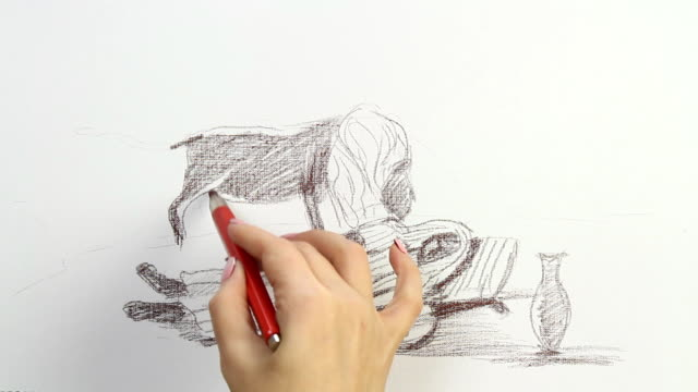 vidéos et rushes de drawing reproduction of hneri rousseau's 'the sleeping gypsy' - style artistique