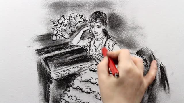 vídeos de stock, filmes e b-roll de drawing reproduction of ilya repin's 'portrait of pianist sophie menter' 1887 - pintor artista