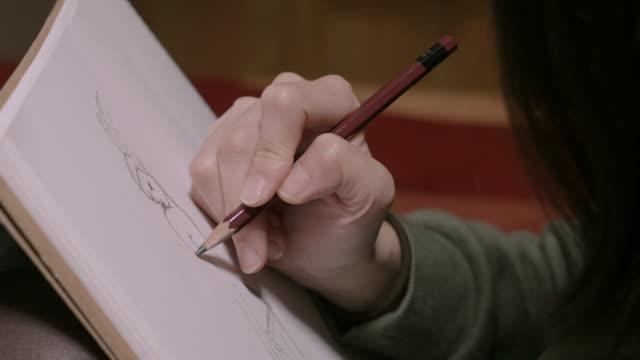 cu drawing sketch / nakano, tokyo, japan - hobbies stock videos & royalty-free footage