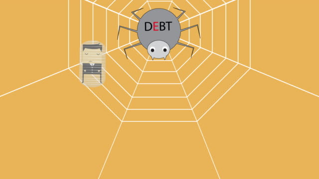 drawing vector spider's web with the spider as a symbol liabilities with theme of debt animation. - damaged stock videos & royalty-free footage