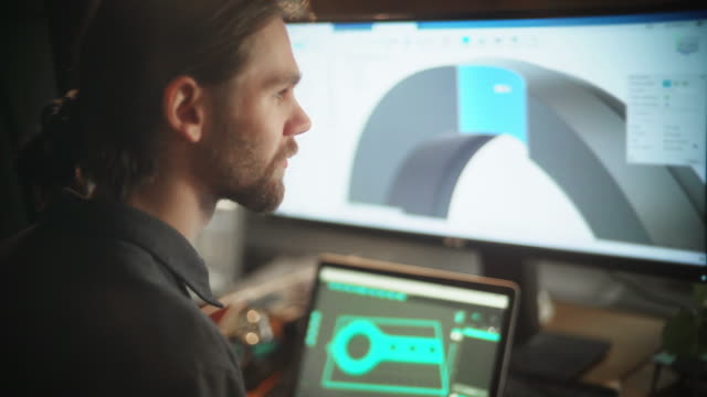 stockvideo's en b-roll-footage met cad-tekening - ingenieurswerk