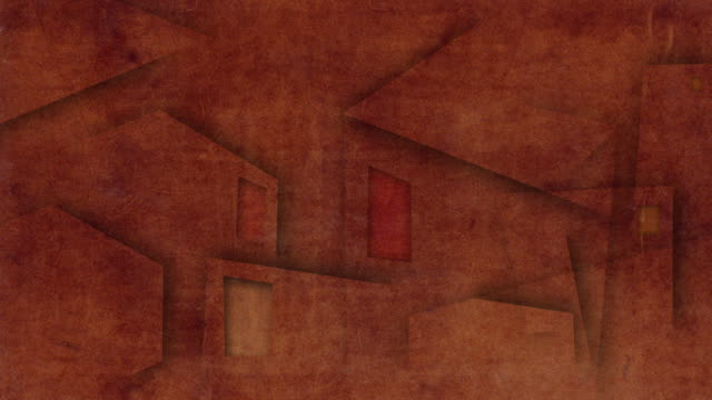 CGI MS Drawn buildings appearing and shifting on rust-colored paper