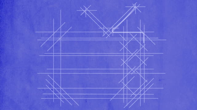TV drawn on blueprint. With flickering screen.