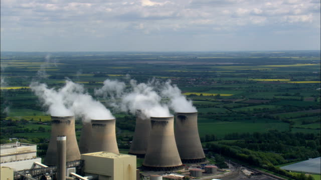 drax power station  - aerial view - england,  north yorkshire,  selby district,  united kingdom - station stock videos & royalty-free footage
