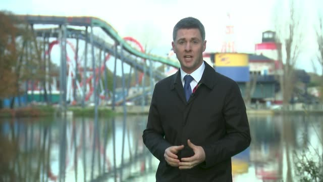 schoolgirl who drowned at theme park allowed onto the ride without a teacher england staffordshire drayton manor theme park ext reporter to camera sot - inquest stock videos & royalty-free footage