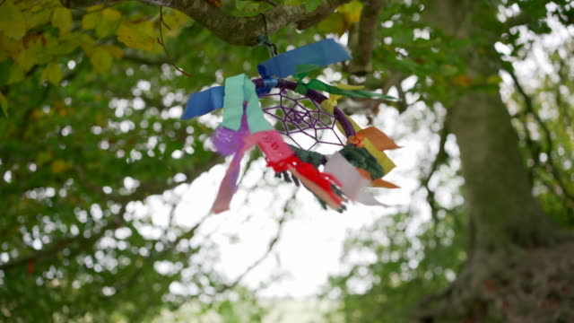 a dreamcatcher blowing in the wind - avebury stock videos & royalty-free footage