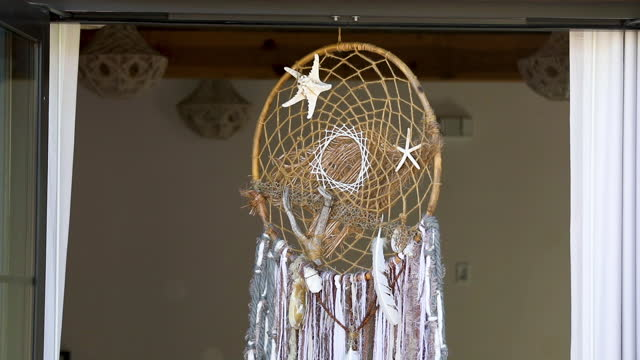 dreamcatcher hanging under ceiling - new age stock videos & royalty-free footage