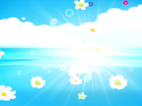 träume. animation mit blumen wasser und wolken. - kringel stock-videos und b-roll-filmmaterial