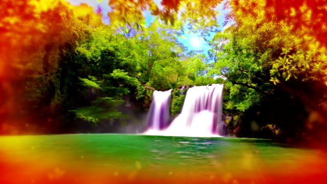 dreamy waterfall. - natural landmark stock videos & royalty-free footage