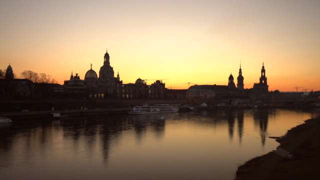dresden at sunset, panning - saxony stock videos & royalty-free footage