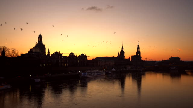 dresden at sunset - dresden germany stock videos & royalty-free footage