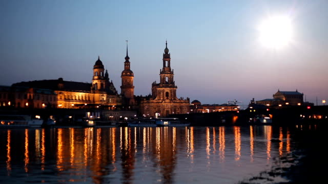 dresden at sunset - riverbank stock videos & royalty-free footage