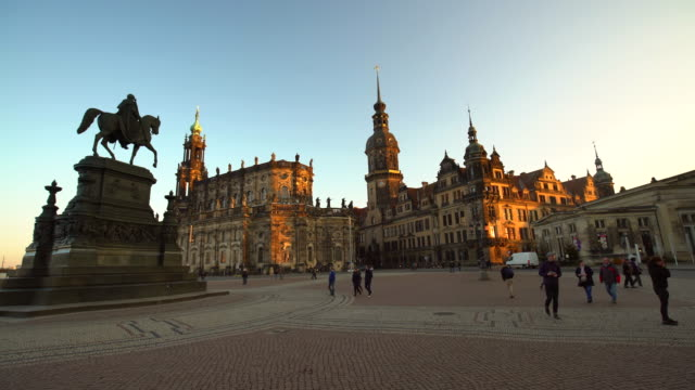 dresden at sunset with hofkirche, time lapse - hofkirche stock videos & royalty-free footage