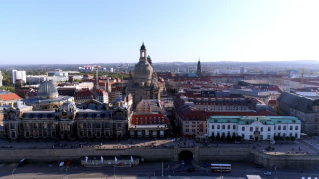 dresden brehl's terrace and frauenkirche on sunny autumn day - dresden germany stock videos & royalty-free footage