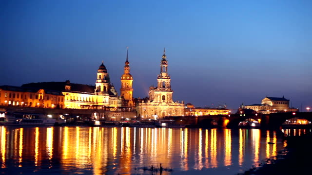 dresden by night - dresden frauenkirche stock videos & royalty-free footage